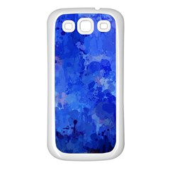 Splashes Of Color, Blue Samsung Galaxy S3 Back Case (White)