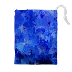 Splashes Of Color, Blue Drawstring Pouches (extra Large)