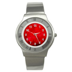 Splashes Of Color, Deep Red Stainless Steel Watches