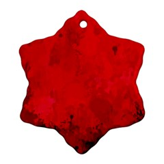 Splashes Of Color, Deep Red Snowflake Ornament (2 Side)