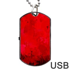 Splashes Of Color, Deep Red Dog Tag USB Flash (One Side)