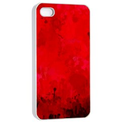 Splashes Of Color, Deep Red Apple iPhone 4/4s Seamless Case (White)