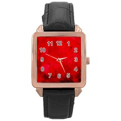 Splashes Of Color, Deep Red Rose Gold Watches