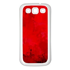 Splashes Of Color, Deep Red Samsung Galaxy S3 Back Case (White)