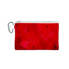 Splashes Of Color, Deep Red Canvas Cosmetic Bag (S)