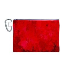 Splashes Of Color, Deep Red Canvas Cosmetic Bag (M)