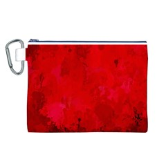 Splashes Of Color, Deep Red Canvas Cosmetic Bag (L)