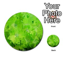 Splashes Of Color, Green Multi-purpose Cards (Round)