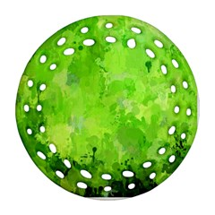 Splashes Of Color, Green Round Filigree Ornament (2side)