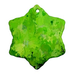 Splashes Of Color, Green Snowflake Ornament (2 Side)