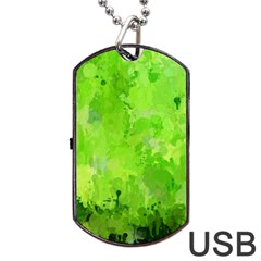 Splashes Of Color, Green Dog Tag Usb Flash (one Side)