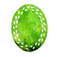 Splashes Of Color, Green Oval Filigree Ornament (2-Side)