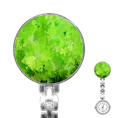 Splashes Of Color, Green Stainless Steel Nurses Watches