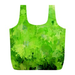 Splashes Of Color, Green Full Print Recycle Bags (L)