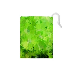Splashes Of Color, Green Drawstring Pouches (small)
