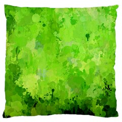 Splashes Of Color, Green Large Flano Cushion Cases (One Side)