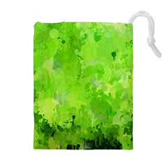 Splashes Of Color, Green Drawstring Pouches (extra Large)