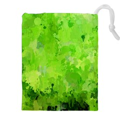 Splashes Of Color, Green Drawstring Pouches (XXL)