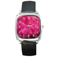Splashes Of Color, Hot Pink Square Metal Watches