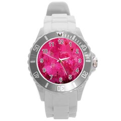Splashes Of Color, Hot Pink Round Plastic Sport Watch (L)