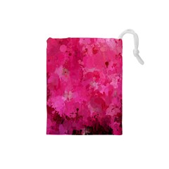 Splashes Of Color, Hot Pink Drawstring Pouches (Small)