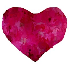 Splashes Of Color, Hot Pink Large 19  Premium Flano Heart Shape Cushions