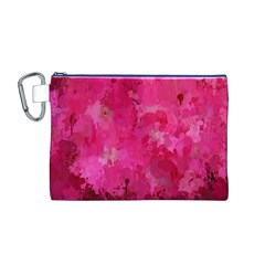 Splashes Of Color, Hot Pink Canvas Cosmetic Bag (m)