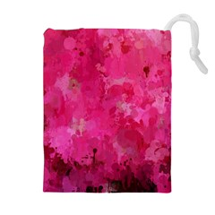 Splashes Of Color, Hot Pink Drawstring Pouches (extra Large)