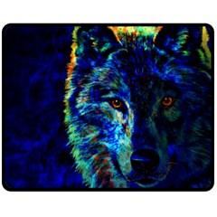 lone wolf Fleece Blanket (Medium)