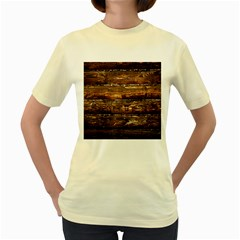Dark Stained Wood Wall Women s Yellow T Shirt
