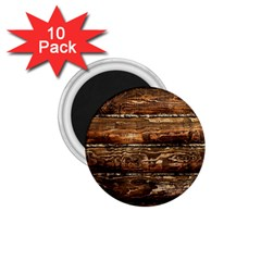 DARK STAINED WOOD WALL 1.75  Magnets (10 pack)