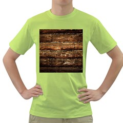 Dark Stained Wood Wall Green T Shirt