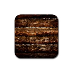 DARK STAINED WOOD WALL Rubber Square Coaster (4 pack)