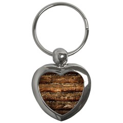 DARK STAINED WOOD WALL Key Chains (Heart)