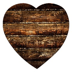 DARK STAINED WOOD WALL Jigsaw Puzzle (Heart)