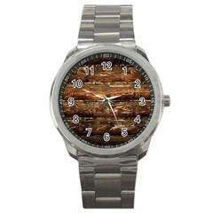 DARK STAINED WOOD WALL Sport Metal Watches