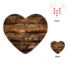Dark Stained Wood Wall Playing Cards (heart)