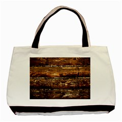 Dark Stained Wood Wall Basic Tote Bag