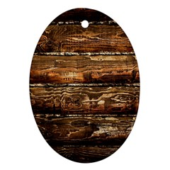 DARK STAINED WOOD WALL Oval Ornament (Two Sides)
