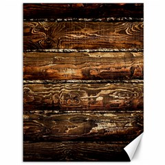 DARK STAINED WOOD WALL Canvas 36  x 48