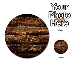 DARK STAINED WOOD WALL Multi-purpose Cards (Round)
