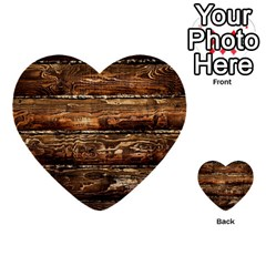 Dark Stained Wood Wall Multi Purpose Cards (heart)