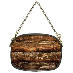 DARK STAINED WOOD WALL Chain Purses (One Side)