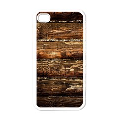 DARK STAINED WOOD WALL Apple iPhone 4 Case (White)