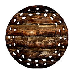 Dark Stained Wood Wall Ornament (round Filigree)