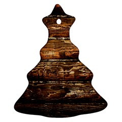 DARK STAINED WOOD WALL Ornament (Christmas Tree)