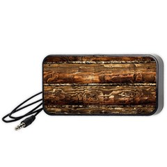 DARK STAINED WOOD WALL Portable Speaker (Black)
