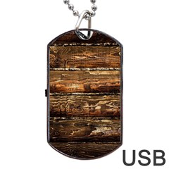 DARK STAINED WOOD WALL Dog Tag USB Flash (One Side)
