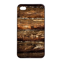 DARK STAINED WOOD WALL Apple iPhone 4/4s Seamless Case (Black)