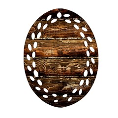 Dark Stained Wood Wall Ornament (oval Filigree)